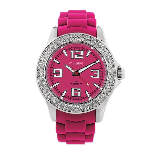 Ladies Chisel 40mm Crystal Bezel Dark Pink Silicone Strap Watch