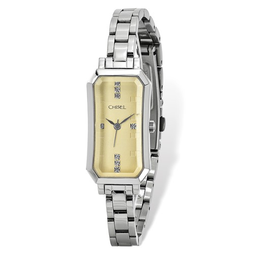 Ladies Chisel Stainless Steel Champagne Dial Watch