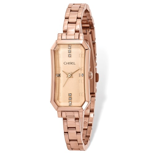 Ladies Chisel Rose IP-plated Stainless Steel Rose Dial Watch