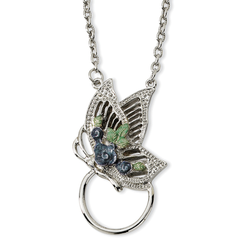 Vishal Jewelry Silver-tone Butterfly Enameled Flower Eyeglass Holder 28 Necklace at Sears.com