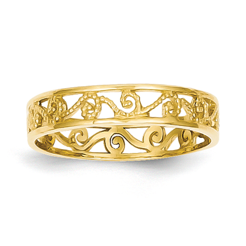 Vishal Jewelry 14K Yellow Gold  Polished & Textured Baby Ring Band at Sears.com