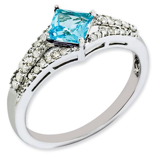 Vishal Jewelry Sterling Silver Blue Topaz & Diamond Ring at Sears.com