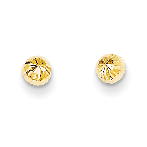 Vishal Jewlery 14K Yellow Gold Madi K Diamond-cut 4mm Half-Ball Post Earrings