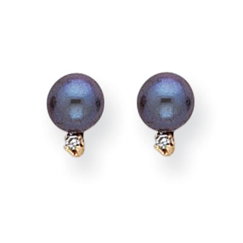 Vishal Jewlery 14K Yellow Gold 6mm Black Pearl AA Diamond earring