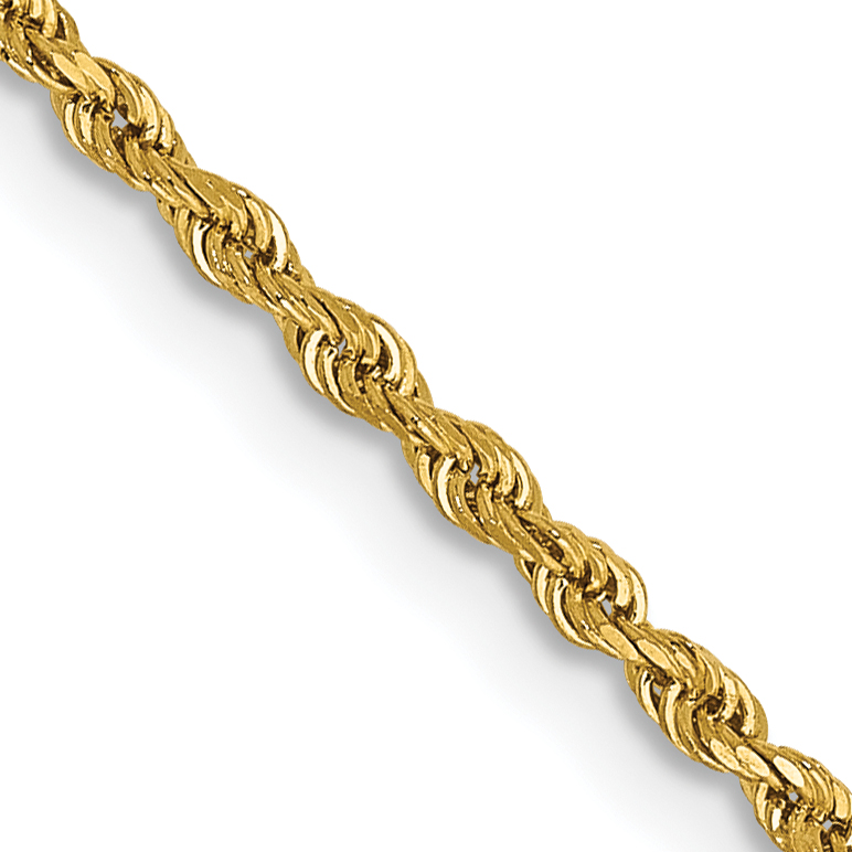 14k 20 Inch 1.5mm Diamond-cut Rope with Lobster Clasp Chain