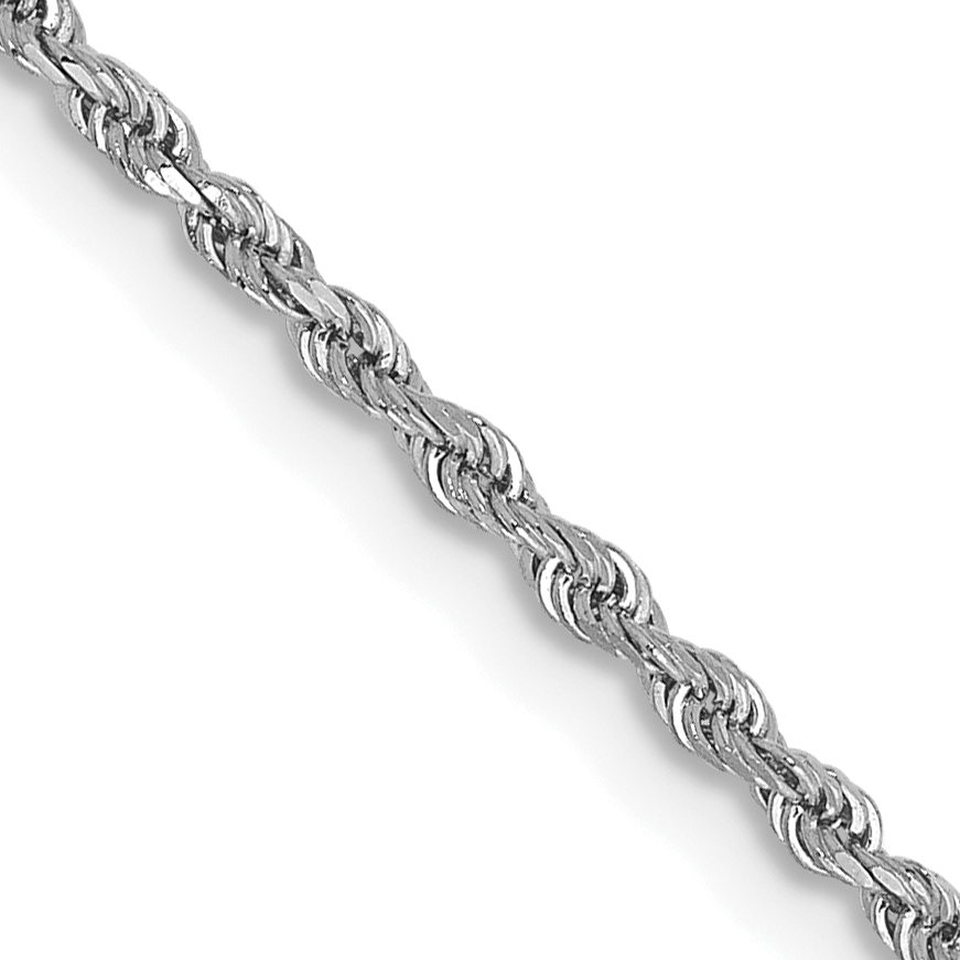 14k White Gold 14 Inch 1.5mm D/C Rope Chain