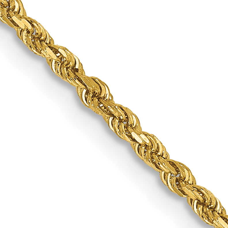 14k 1.75mm D/C Rope with Lobster Clasp Chain. Weight: 3.95,  Length: 14