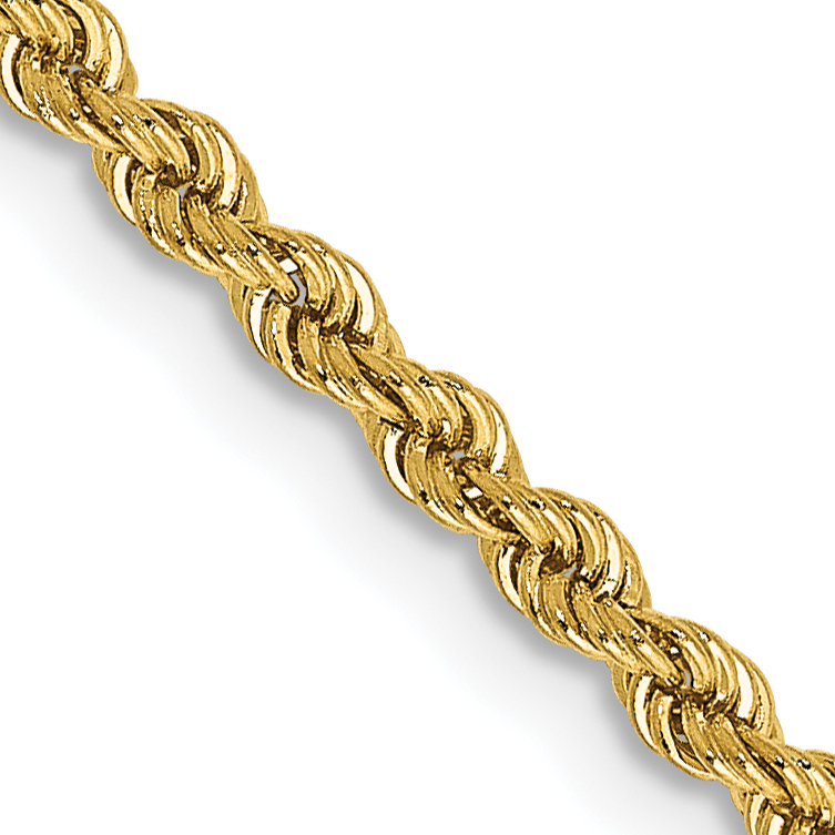 14k 18 Inch 2.25mm Handmade Regular Rope Chain
