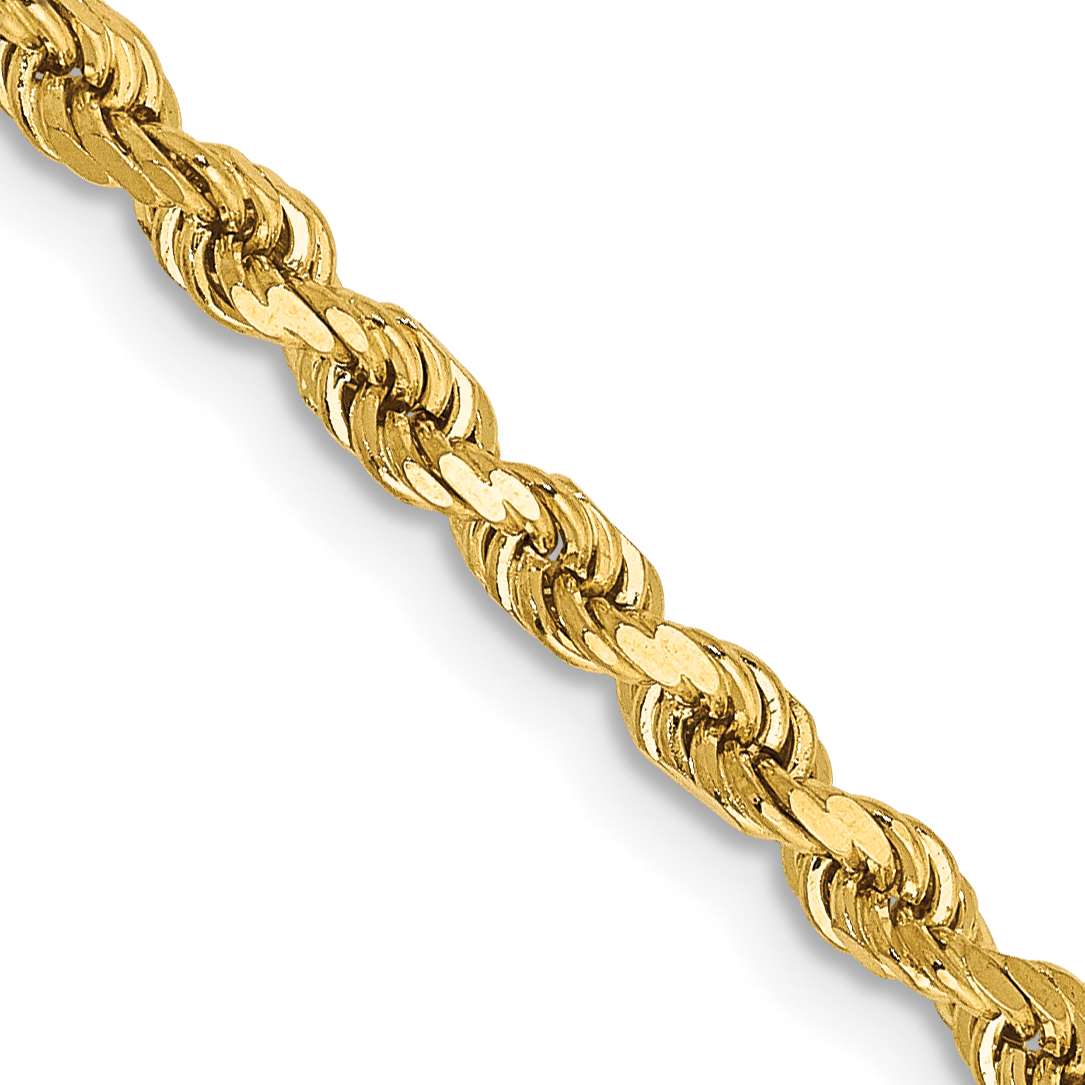 14k 2.75mm Diamond-cut Rope with Lobster Clasp Chain. Weight: 11.05,  Length: 16