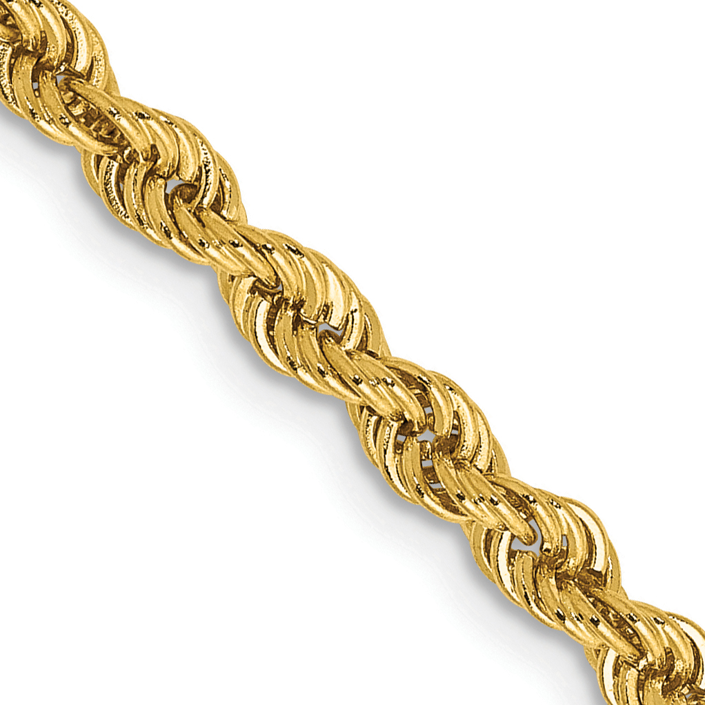 14k 3mm Handmade Regular Rope Chain. Weight: 13.91,  Length: 16