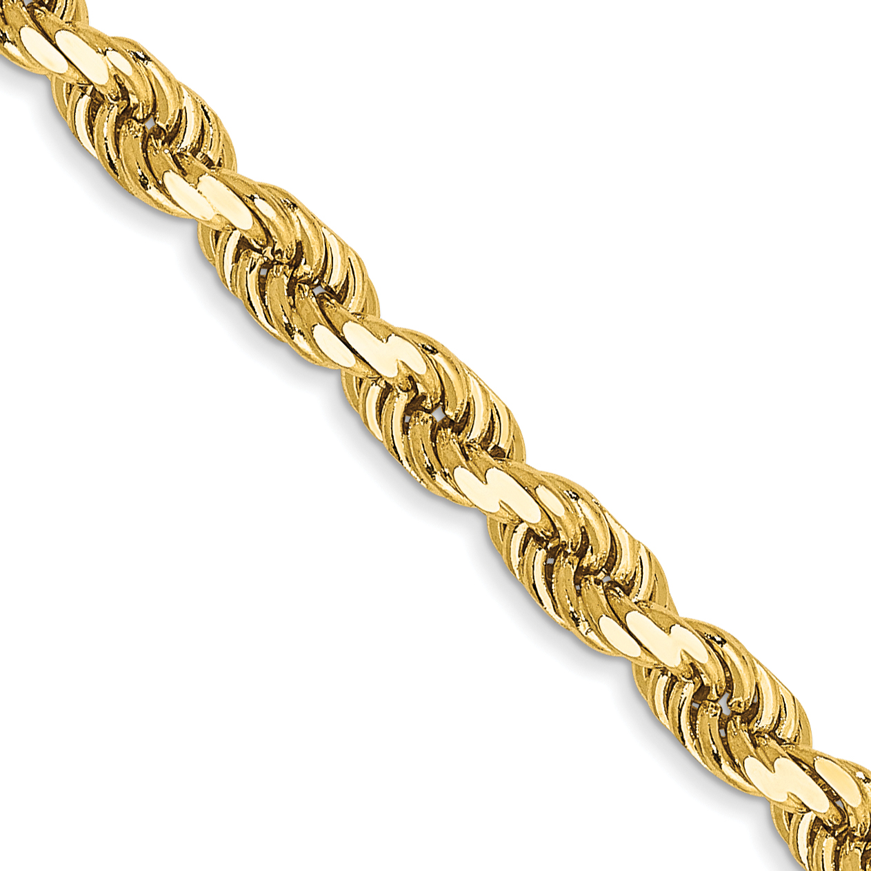 14k 16 Inch 3.5mm Diamond-cut Rope with Lobster Clasp Chain