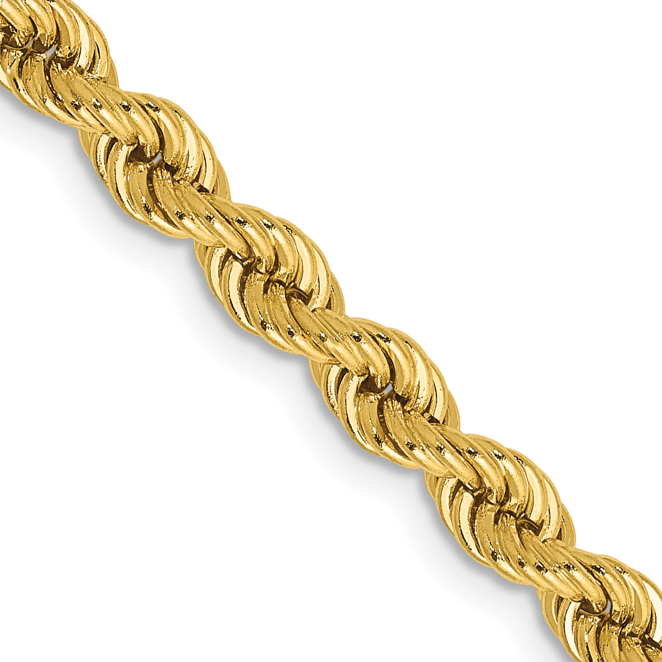 14k 4mm Handmade Regular Rope Chain. Weight: 25.03,  Length: 18