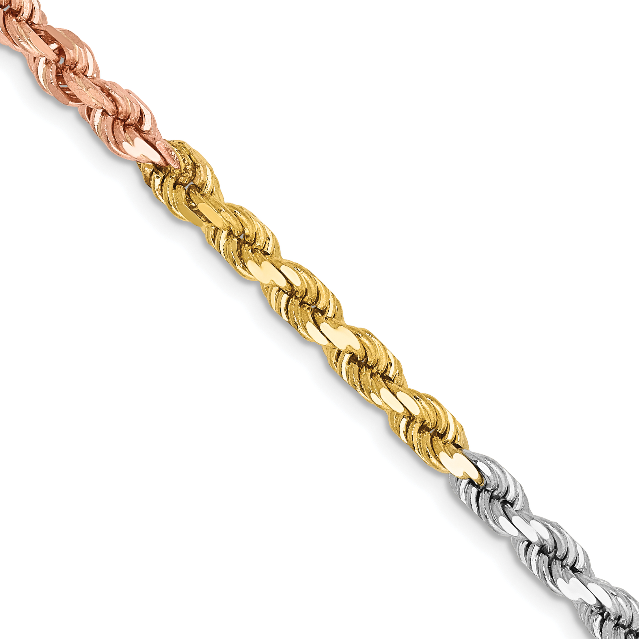 14k Tri-Color 4mm D/C Rope Chain. Weight: 23.35,  Length: 18