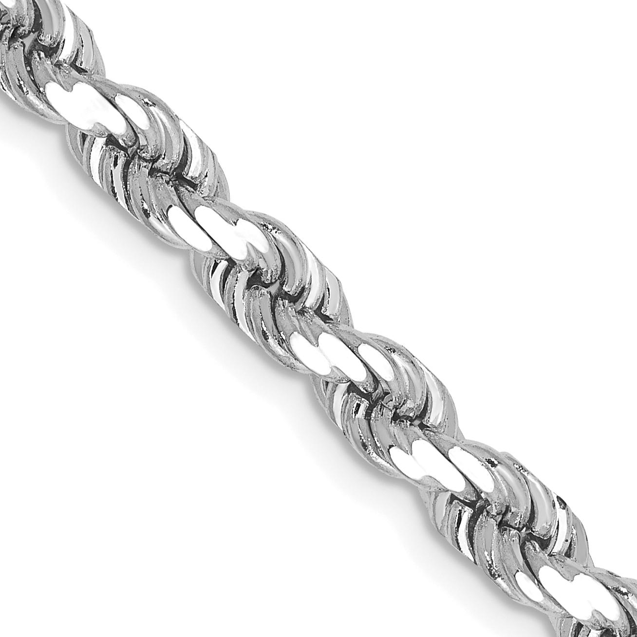 14k White Gold 18 Inch 5mm Diamond-cut Rope Chain
