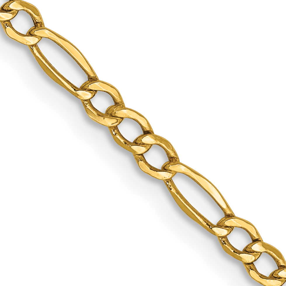 10k 2.50mm Figaro Chain. Weight: 1.19,  Length: 10