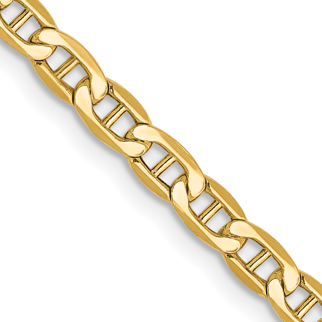 10k Yellow Gold 3.20mm Semi-Solid Anchor Chain. Weight: 3.4,  Length: 16