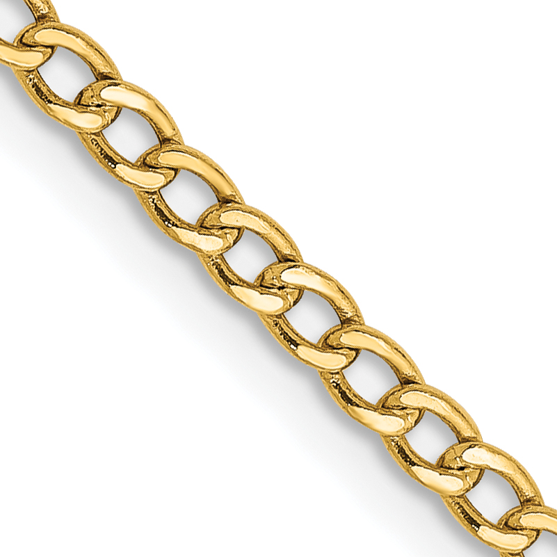 10k 2.5mm Semi-Solid Curb Link Chain. Weight: 1.34,  Length: 10