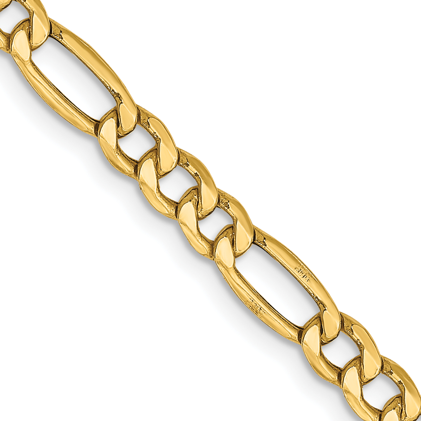 10k 4.4mm Semi-Solid Figaro Chain. Weight: 4.56,  Length: 16