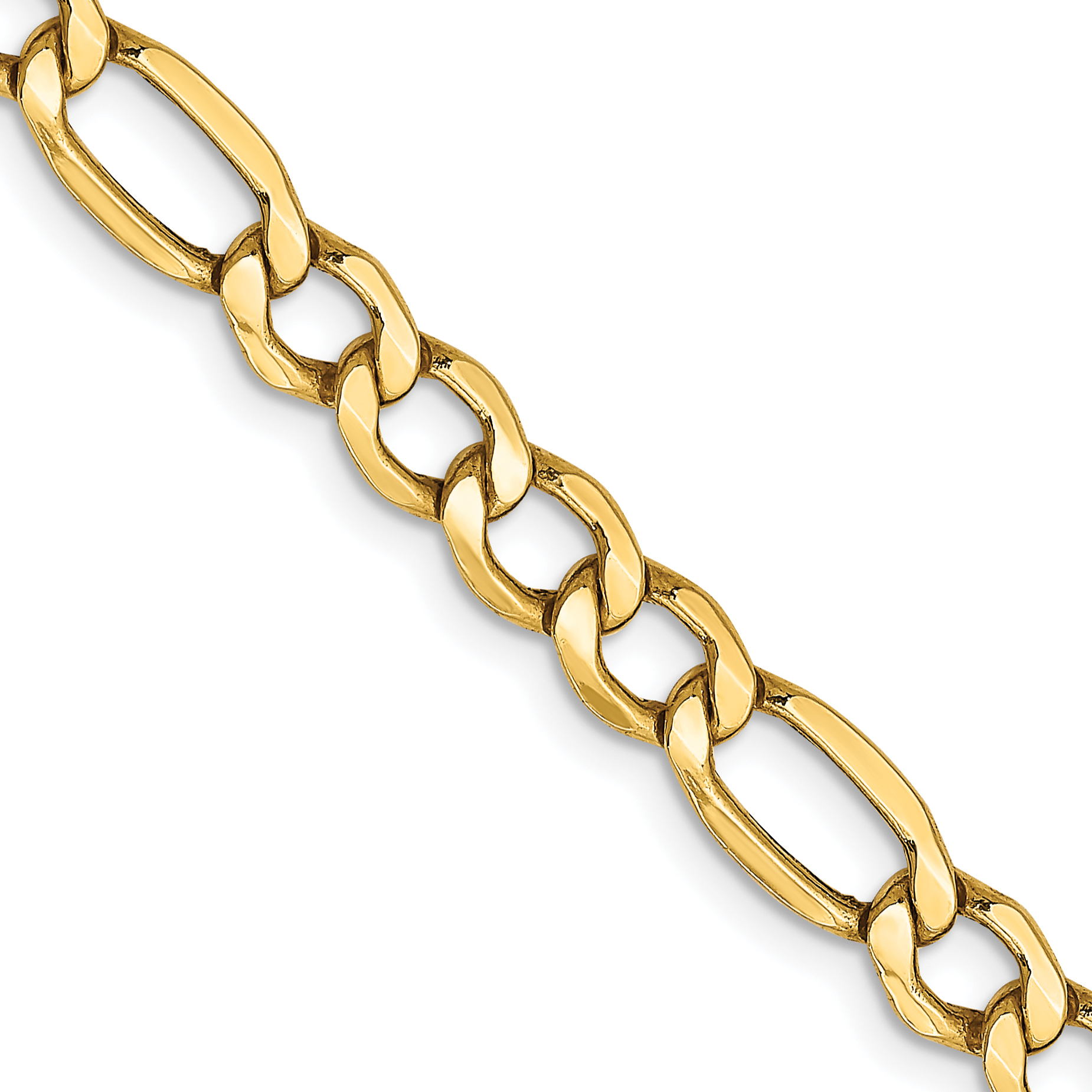 10k 5.75mm Semi-Solid Figaro Chain. Weight: 6.25,  Length: 16