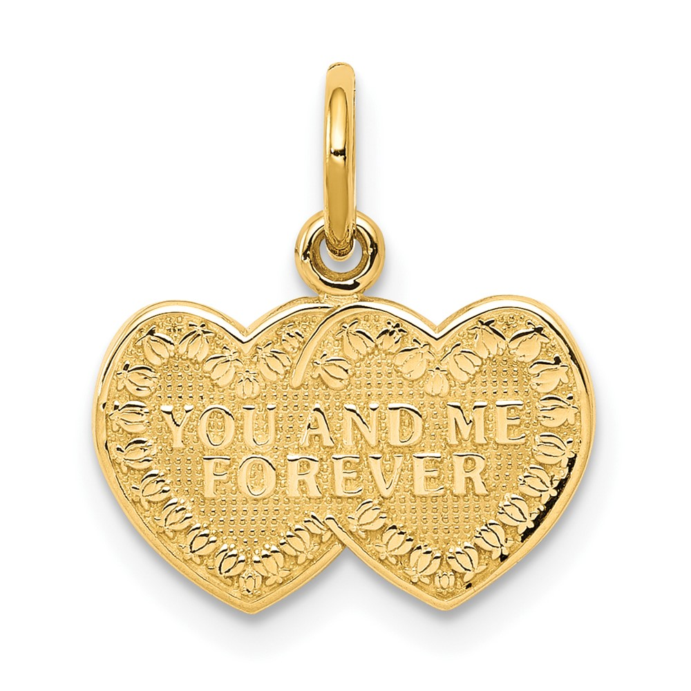 10k 10kt Yellow Solid gold YOU & ME FOREVER HEART CHARM 15 mm X 12 mm