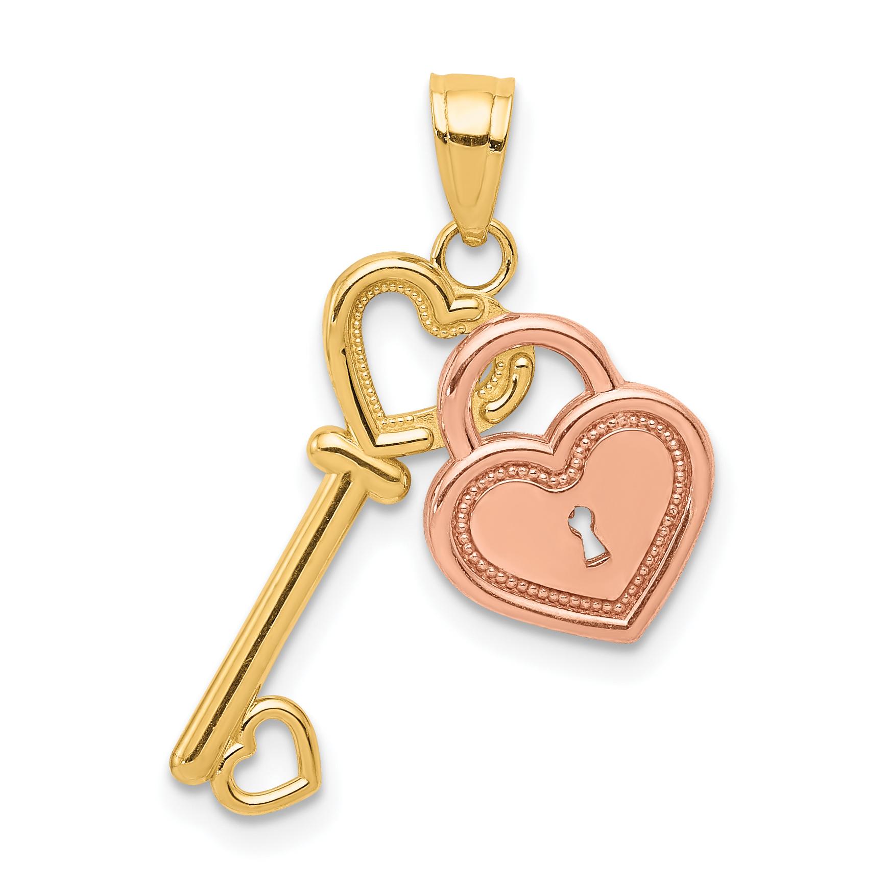 10K Two-Tone Gold Charm Pendant Themed 23 mm 18 Heart /& Key