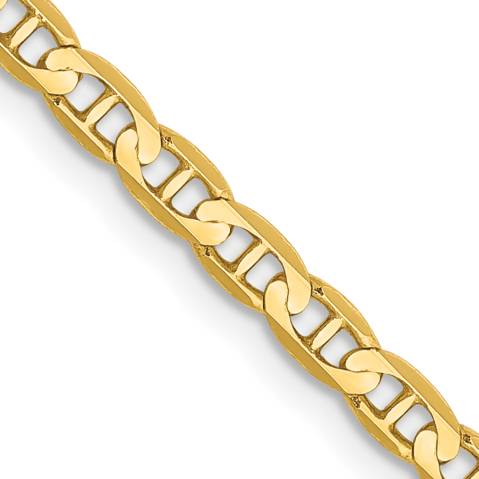 10k Gold 16 Inch 3mm Concave Anchor Chain
