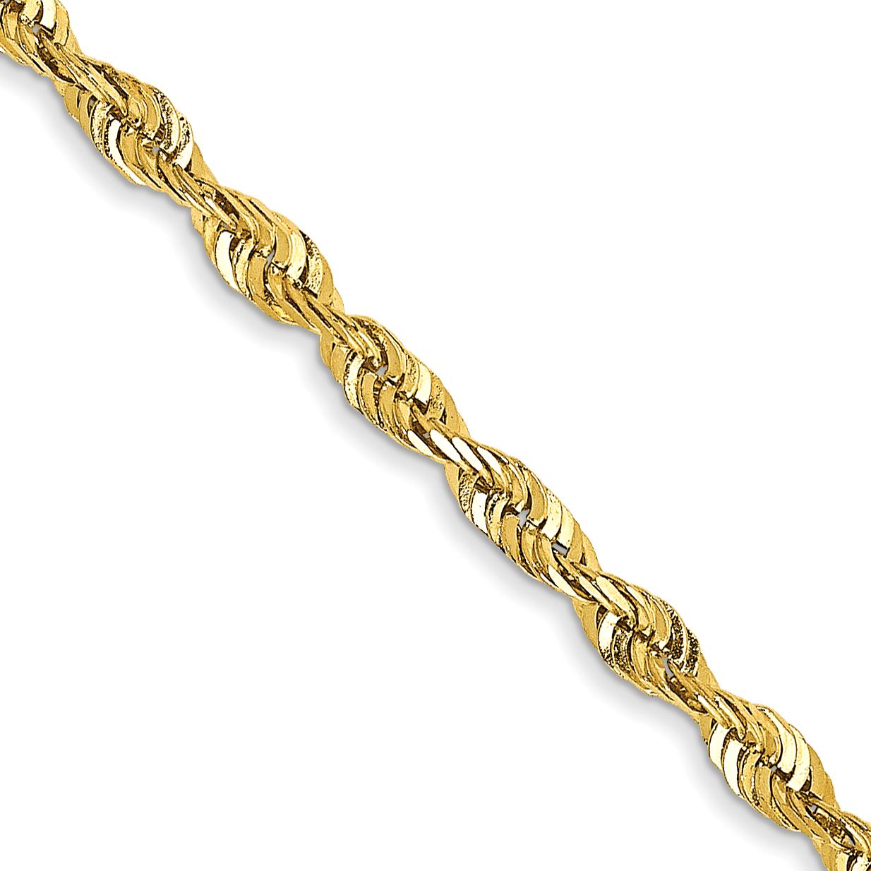 10k 16 Inch 2.25mm Diamond-cut Extra-Lite Rope Chain
