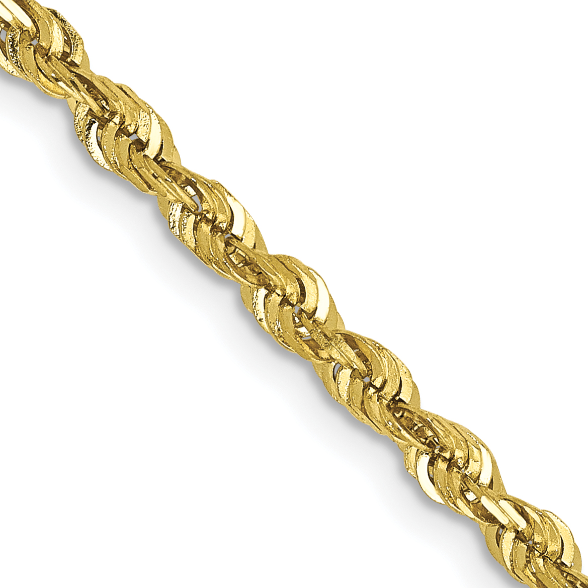10k 24 Inch 2.75mm Diamond-cut Extra-Lite Rope Chain