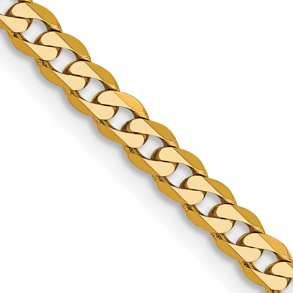 10k 2.9mm Flat Beveled Curb Chain. Weight: 4.92,  Length: 16