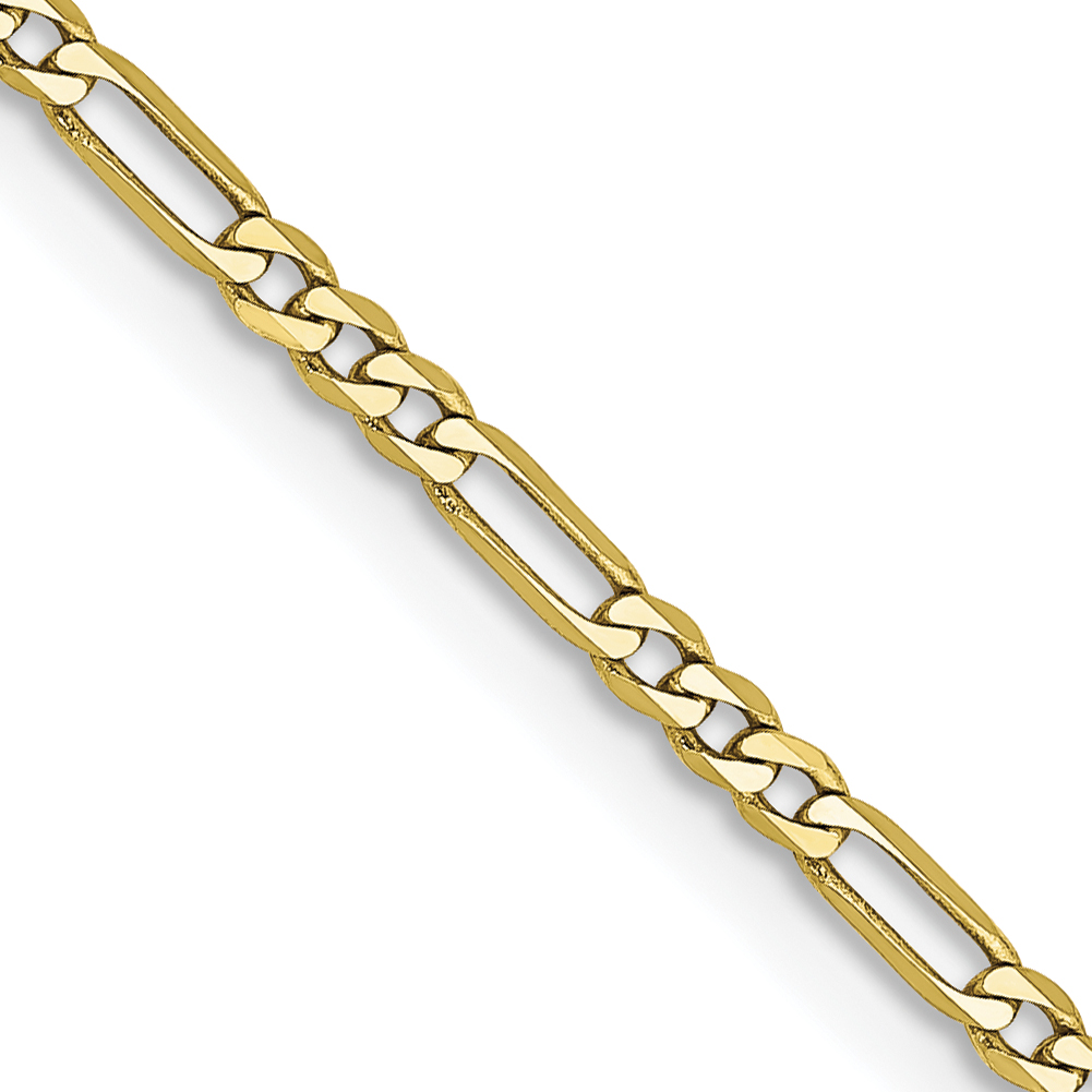 10k 1.75mm Polished  Figaro Chain. Weight: 2.47,  Length: 16