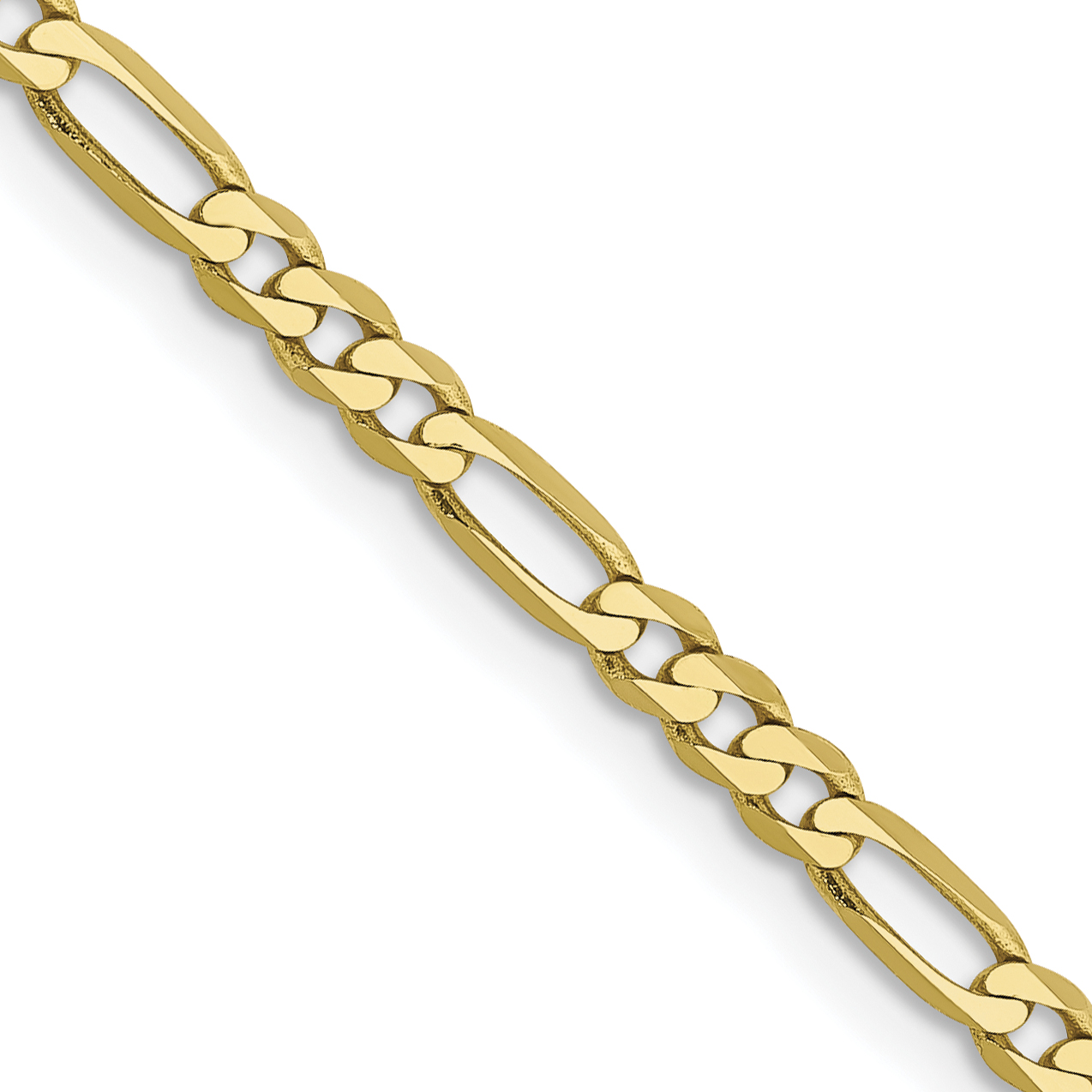 10k 2.75mm Flat Figaro Chain. Weight: 3.59,  Length: 16