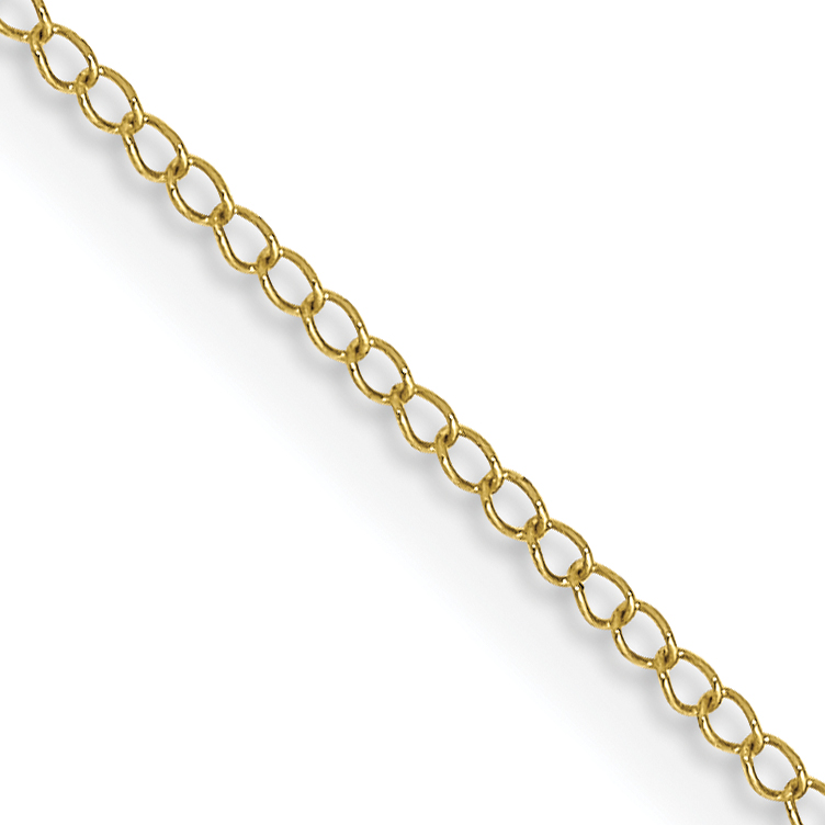 10k .5 mm Carded Curb Chain. Weight: 0.34,  Length: 16