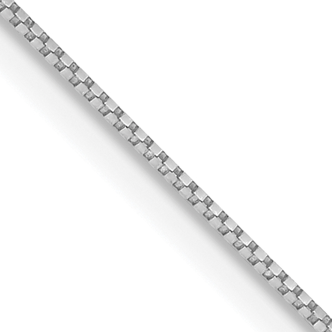10K White Gold .7mm Box Chain. Weight: 1.04,  Length: 16
