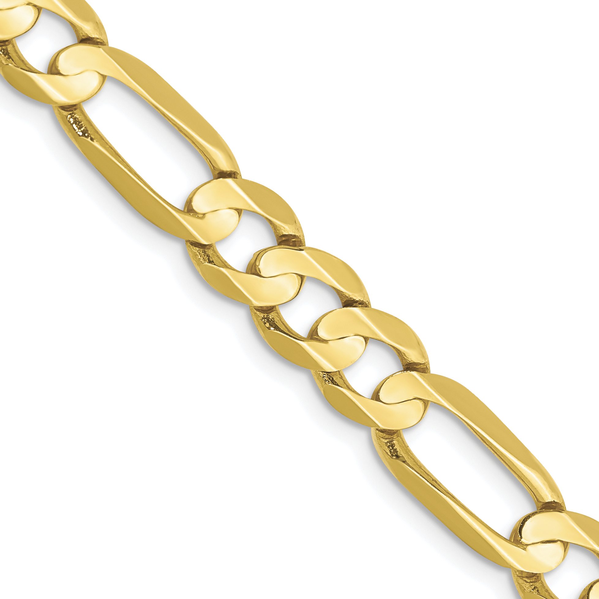 10k 6.75mm Light Concave Figaro  Chain. Weight: 23.75,  Length: 20