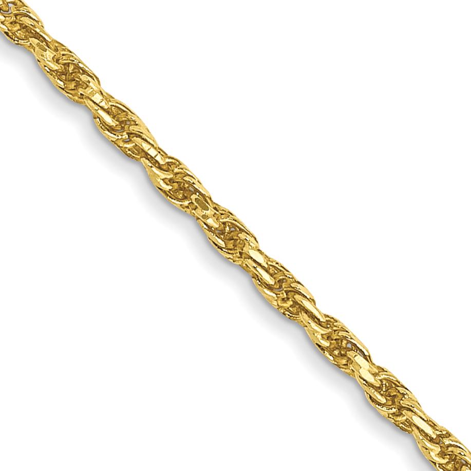 10k 1.3mm Machine Made Diamond Cut Rope Chain. Weight: 2.76,  Length: 16