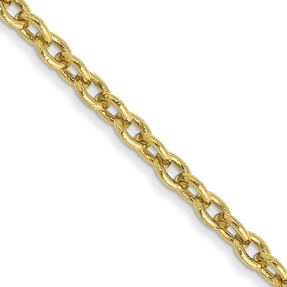 10k 2mm Solid Polished Cable Chain Anklet. Weight: 2.45,  Length: 10