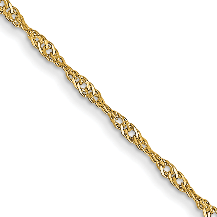 14k 1mm Singapore Chain (CARDED). Weight: 0.65,  Length: 16