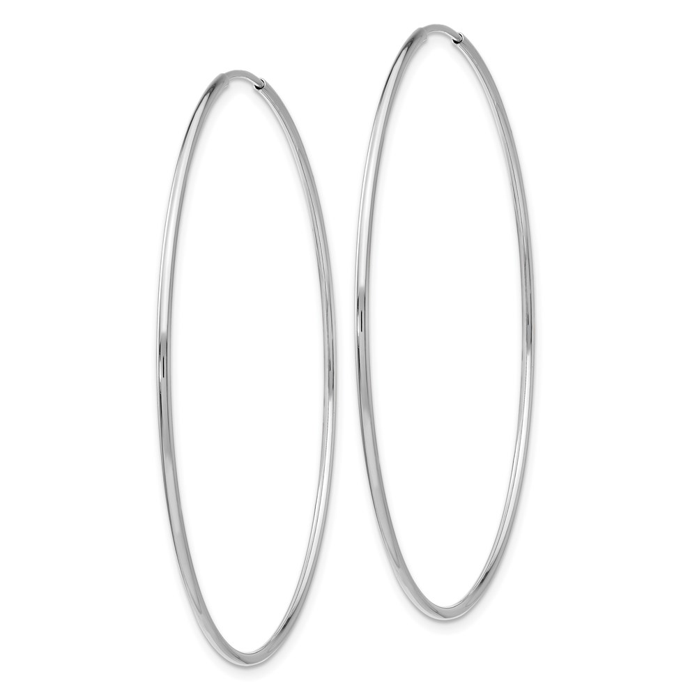 Details About 10k White Gold Endless Hoop Earrings 2 3in Long