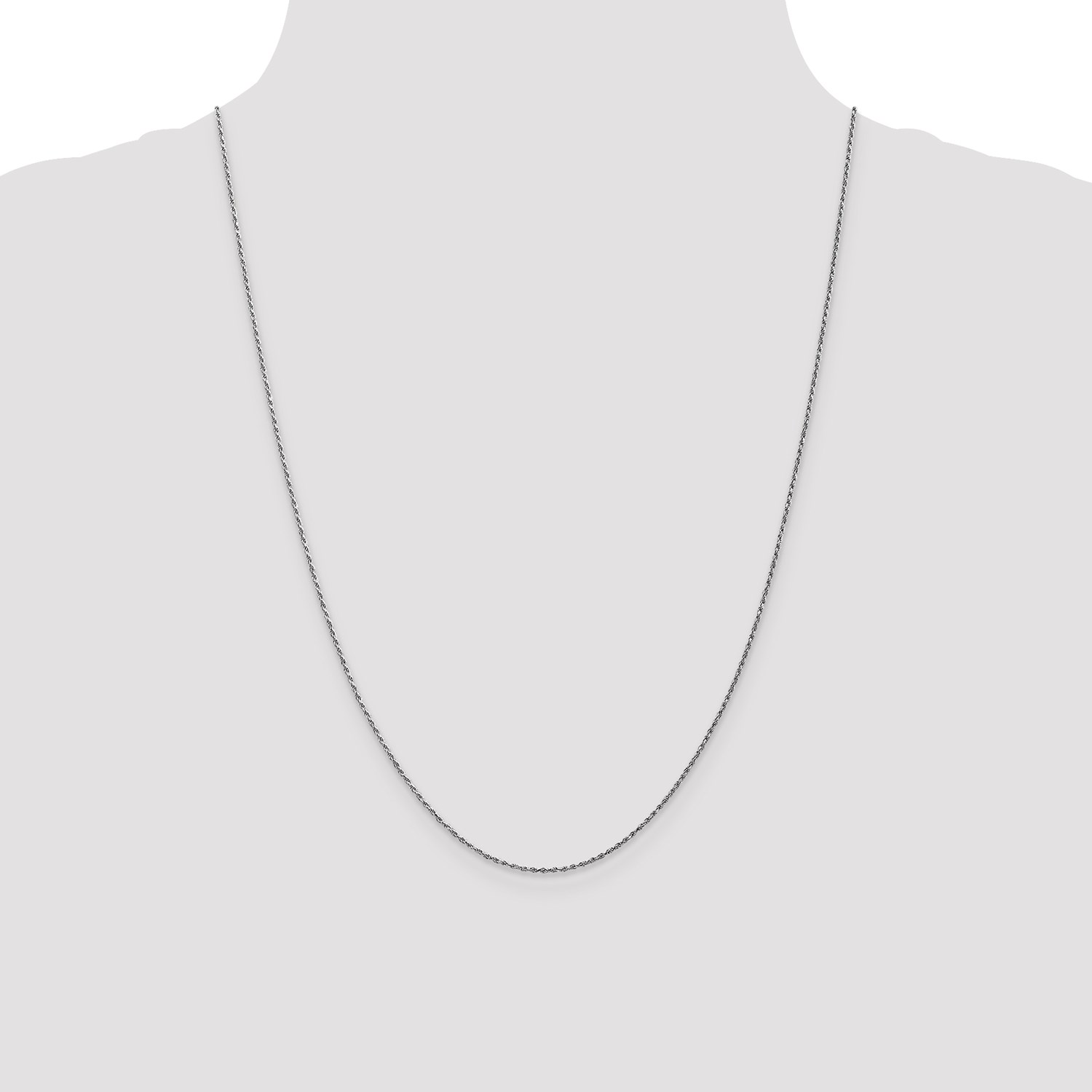 c69bc35311e 10k White Gold 16in 1.2mm Machine Made D C Rope Necklace Chain