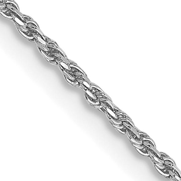 10k White Gold 1.15mm Machine Made Diamond Cut Rope Chain. Weight: 2.09,  Length: 16