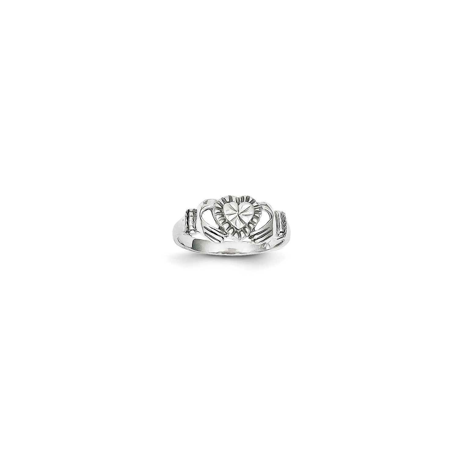 10k White gold Polished Claddagh Ring. Metal Wt-1.63g
