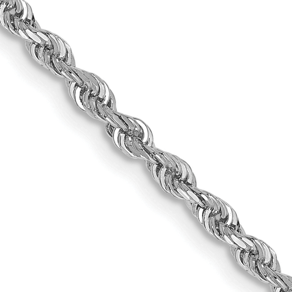 10k White Gold 2.25mm D/C Quadruple Rope Chain. Weight: 3.32,  Length: 10