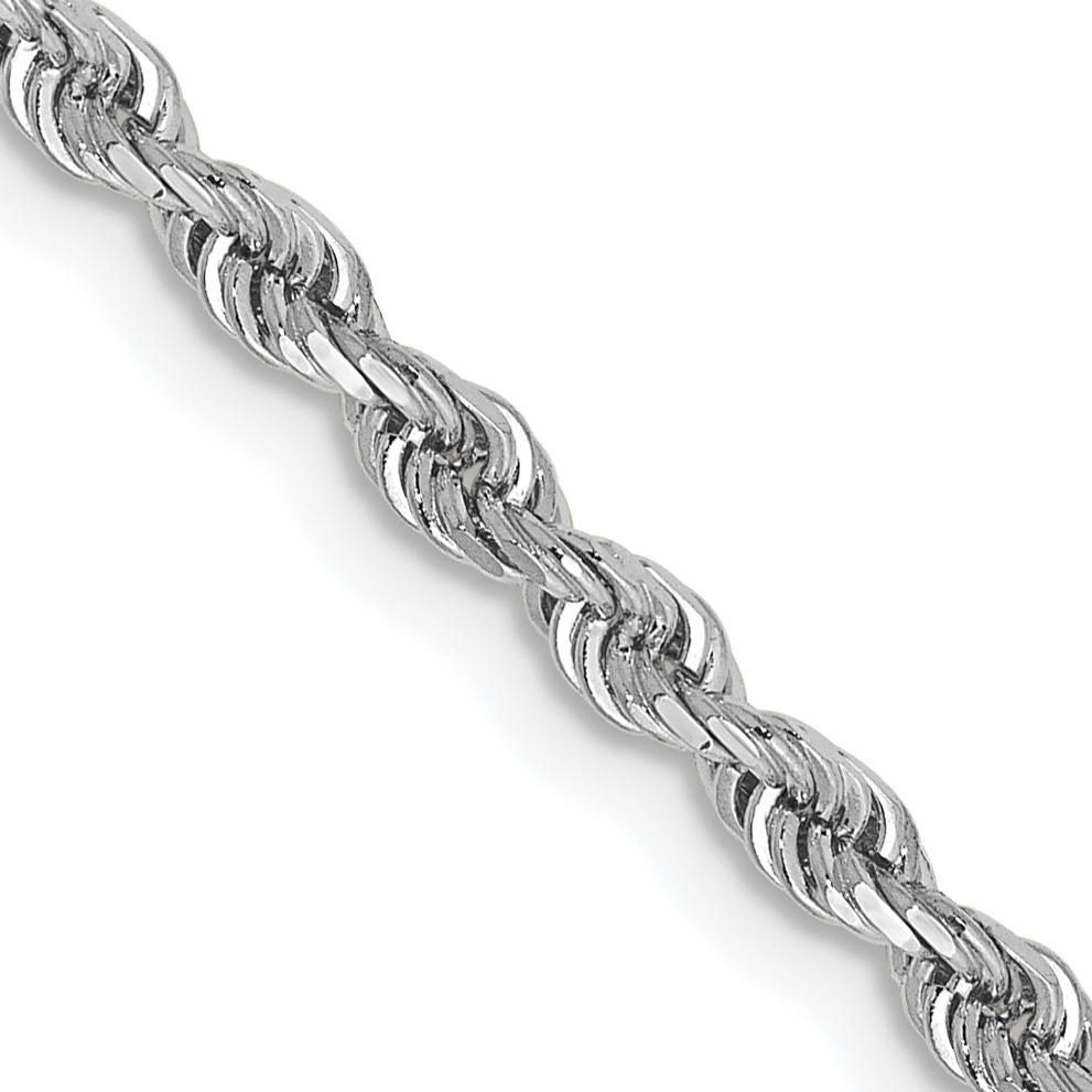 10k White Gold 2.75mm D/C Quadruple Rope Chain. Weight: 8.7,  Length: 18