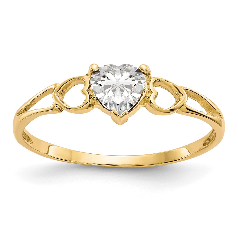 10k Yellow gold Polished Geniune Heart White Topaz Birthstone Ring