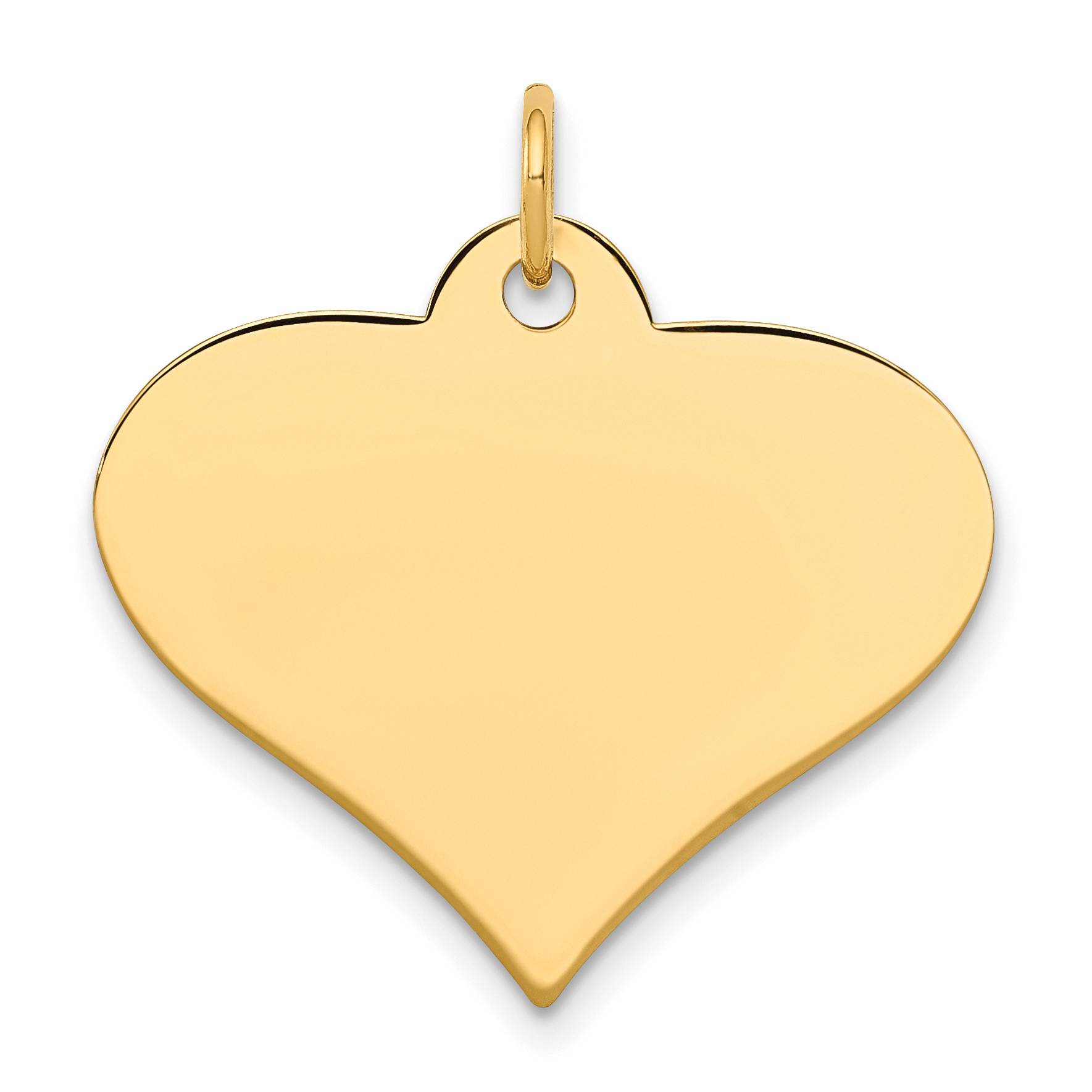 14k Plain .011 Gauge Engravable Heart Disc Charm