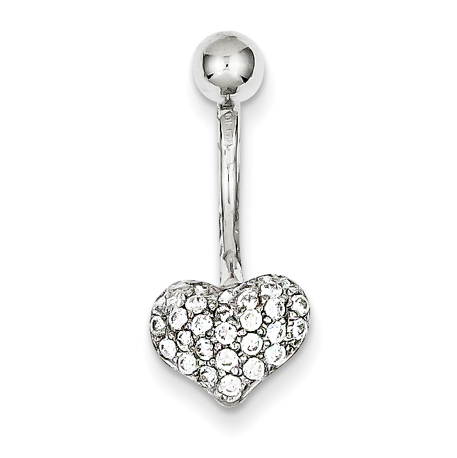 Details About 10k White Gold Cubic Zirconia Cz Heart Belly Button Rings Screw Navel Bars Body