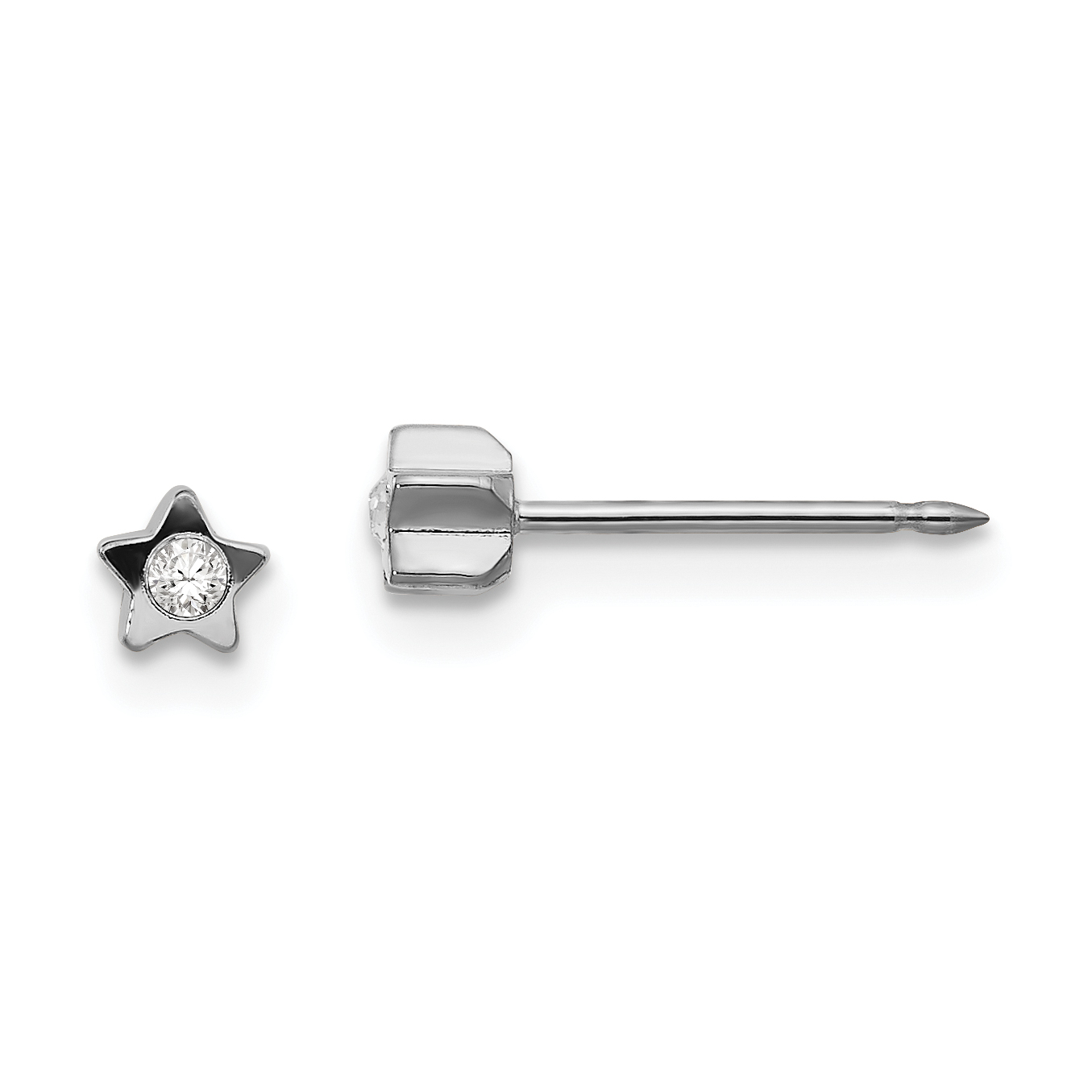Childrens Inverness 24K Yellow-Plated 5 MM CZ Post Stud Earrings