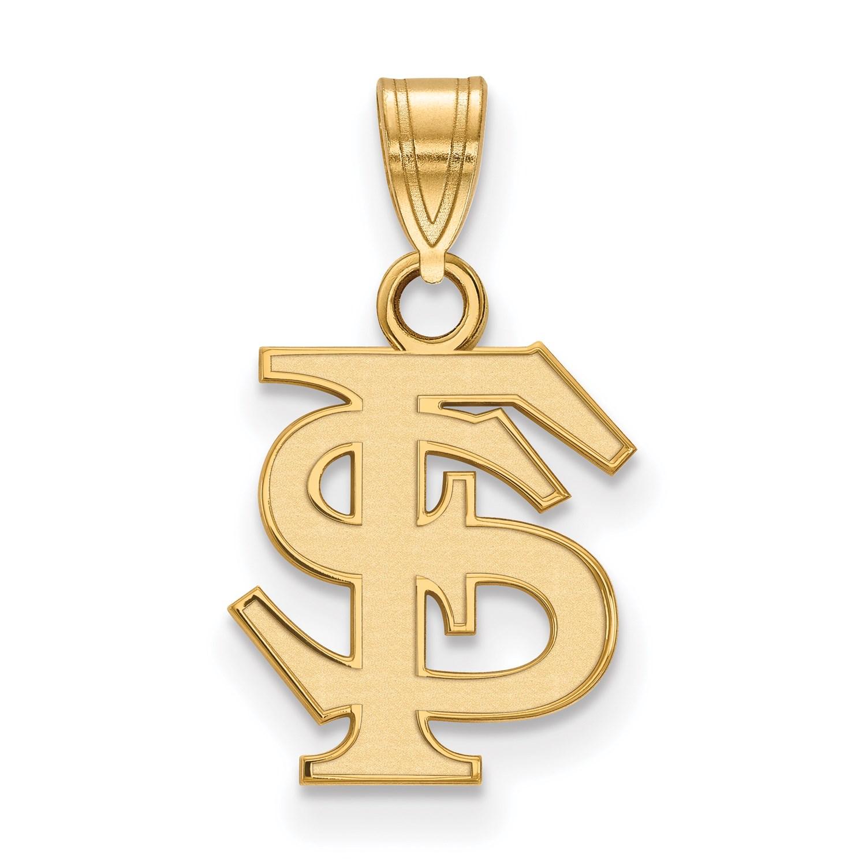 14k Yellow gold LogoArt- Collegiate Florida State University (FSU) Small Pendant
