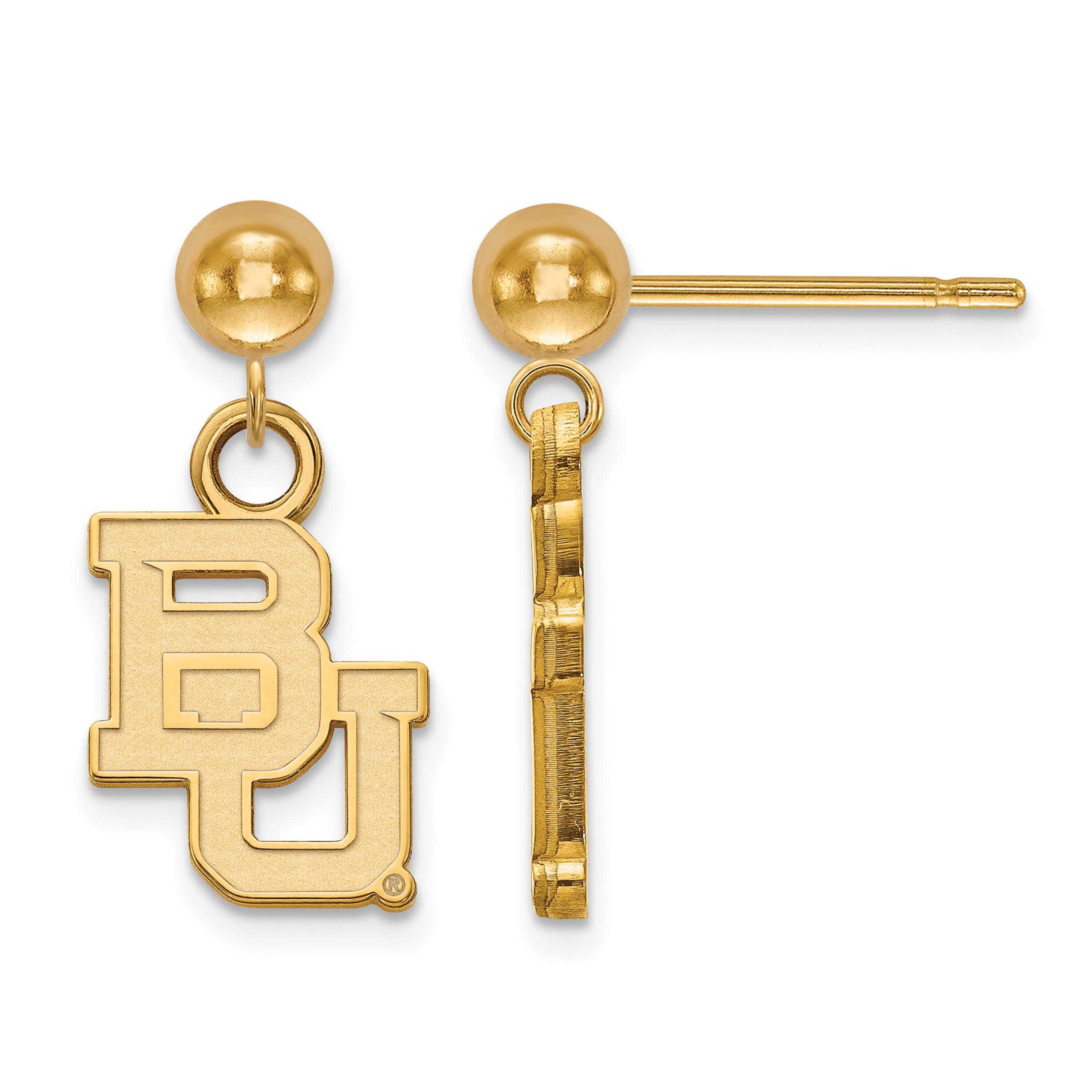 14ky LogoArt Baylor University Earrings Dangle Ball
