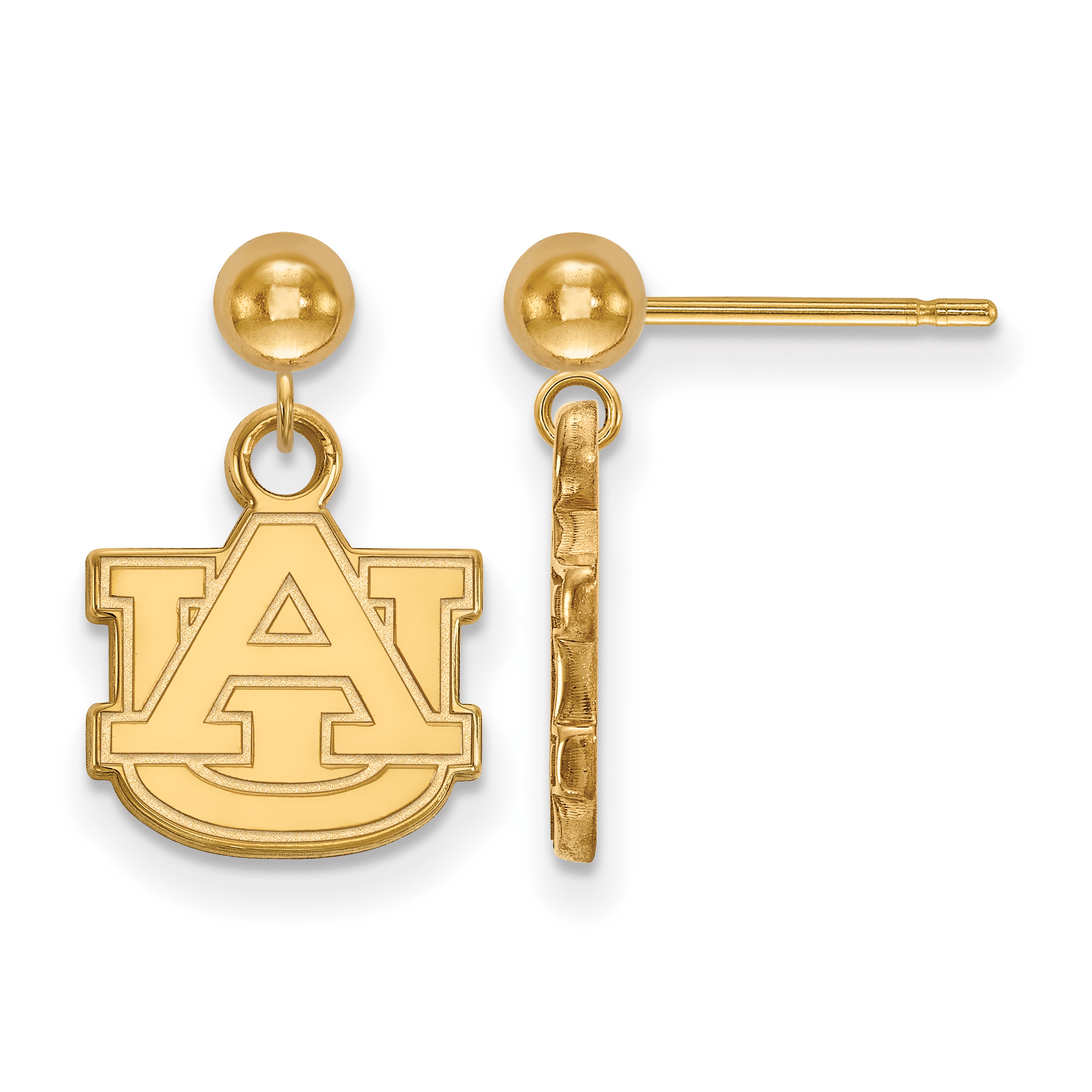 14ky LogoArt Auburn University Earrings Dangle Ball